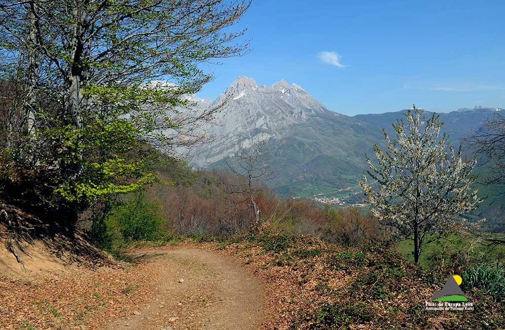 Vistas sobre el Valle de Valdeón y las cumbres de la Torre del Friero (2443 m), Torre de Liordes (2477 m) y Torre Salinas (2447 m), pertenecientes al Macizo Central de Picos de Europa.
