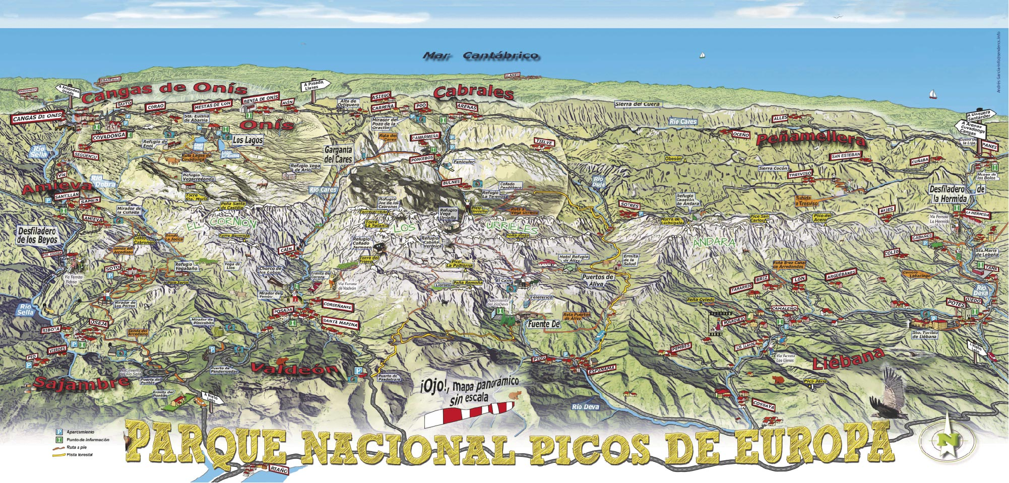 Mapa Turistico De Asturias Y Cantabria.Mapa Panoramico Del Parque Nacional De Los Picos De Europa